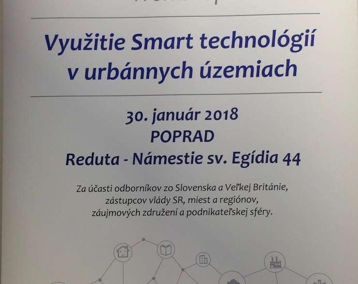 """Workshop """"Využitie Smart technológií v urbánnych územiach""""  30.1.2018 v Poprade"""
