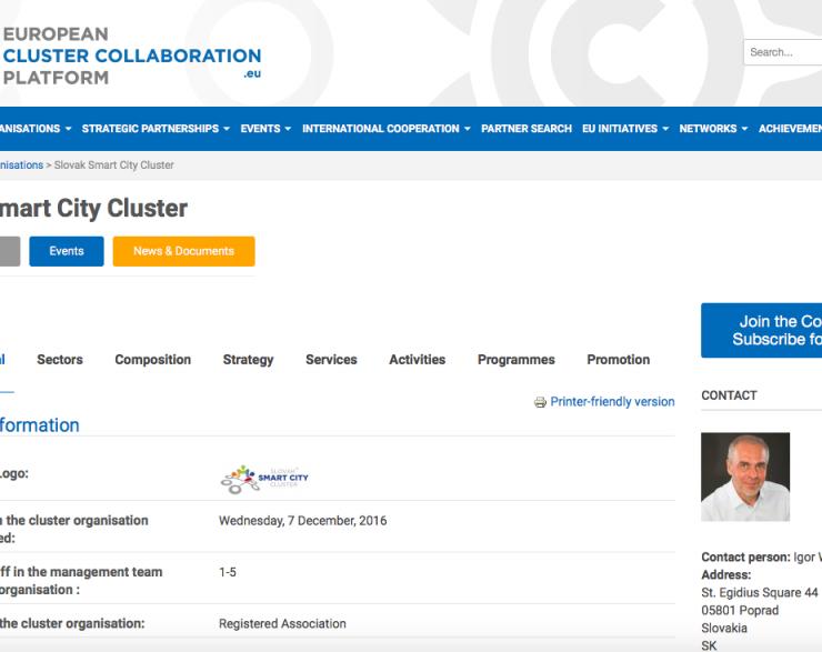 Slovak Smart City Cluster on ECCP